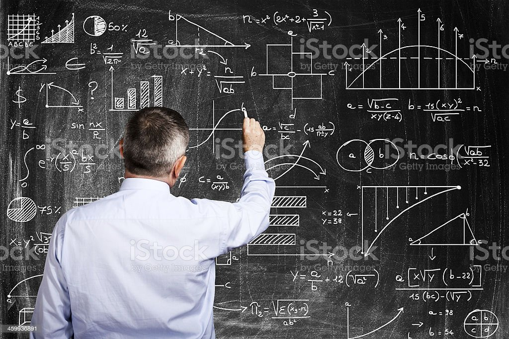 Man solving problems stock photo