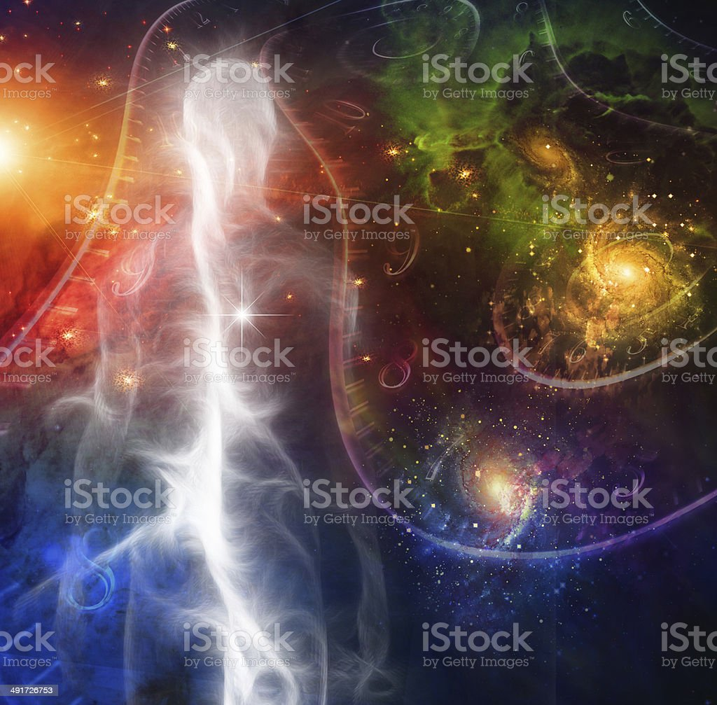Man Space and time stock photo