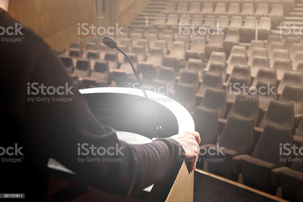 Man speaker testing its speech stock photo