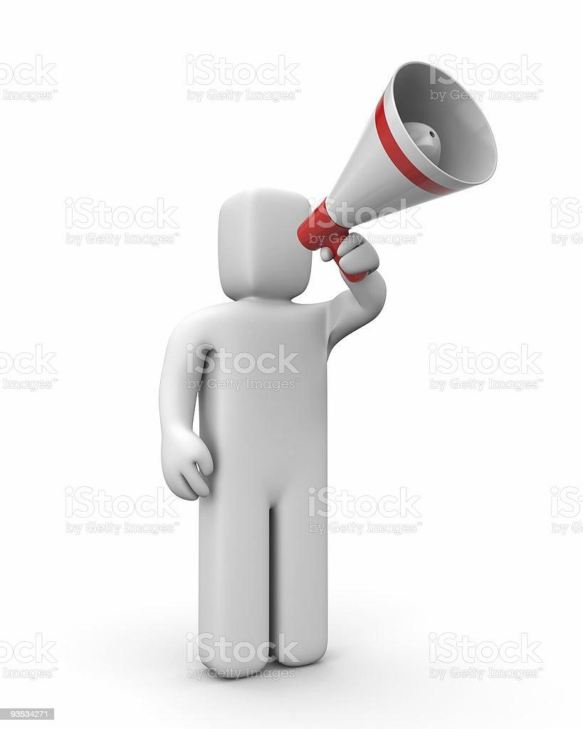 Man speaks in megaphone stock photo