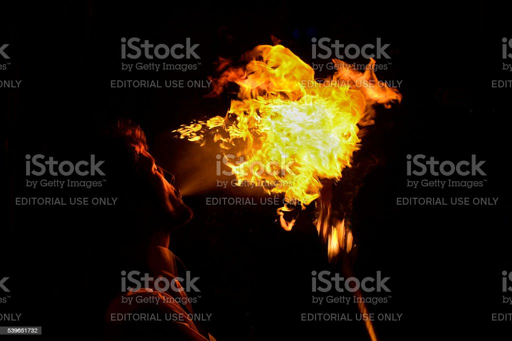 Man spitting fire royalty-free stock photo