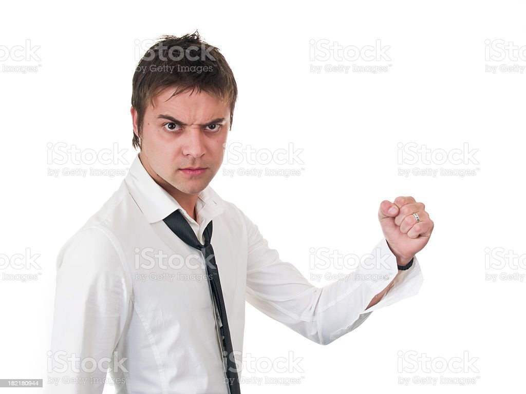 Man squeeze his hand stock photo