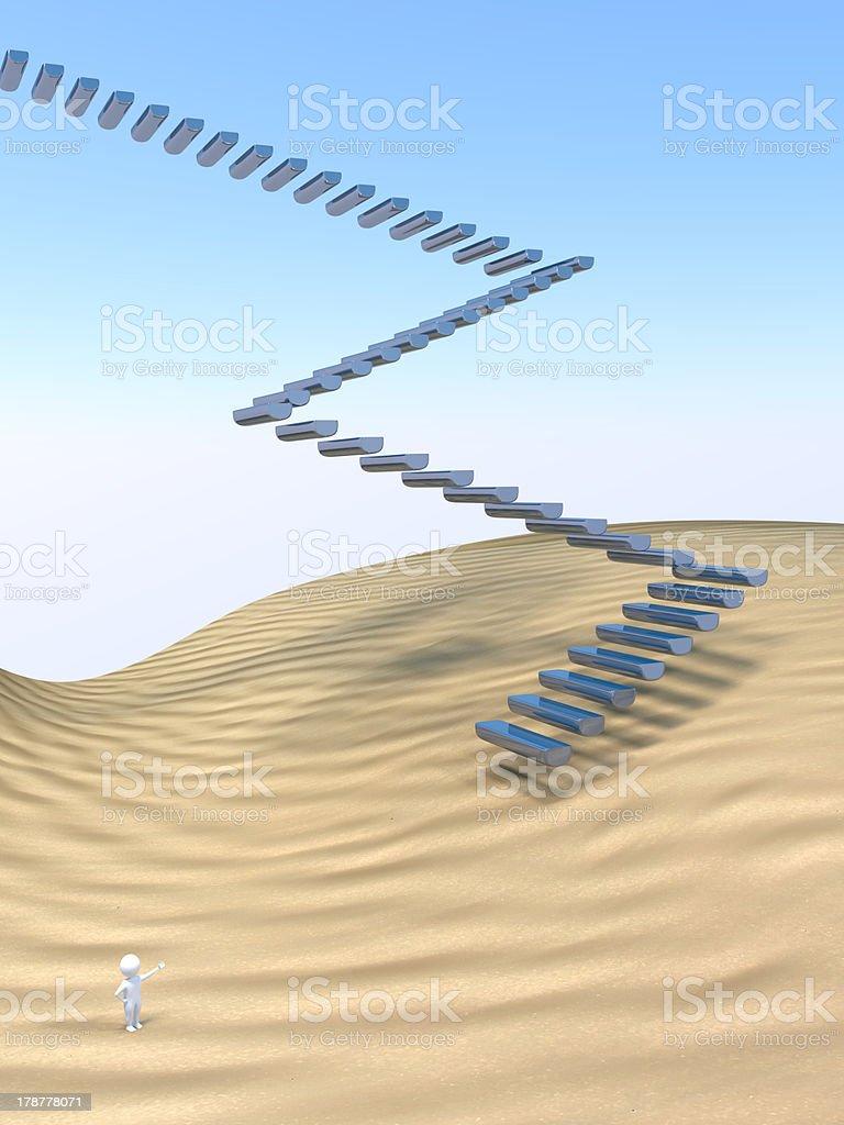 3D Man - Stairway royalty-free stock photo