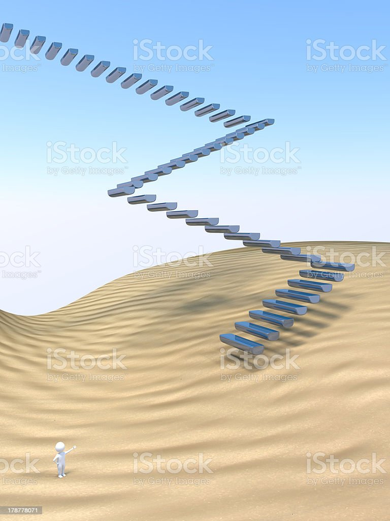 3D Man - Stairway stock photo