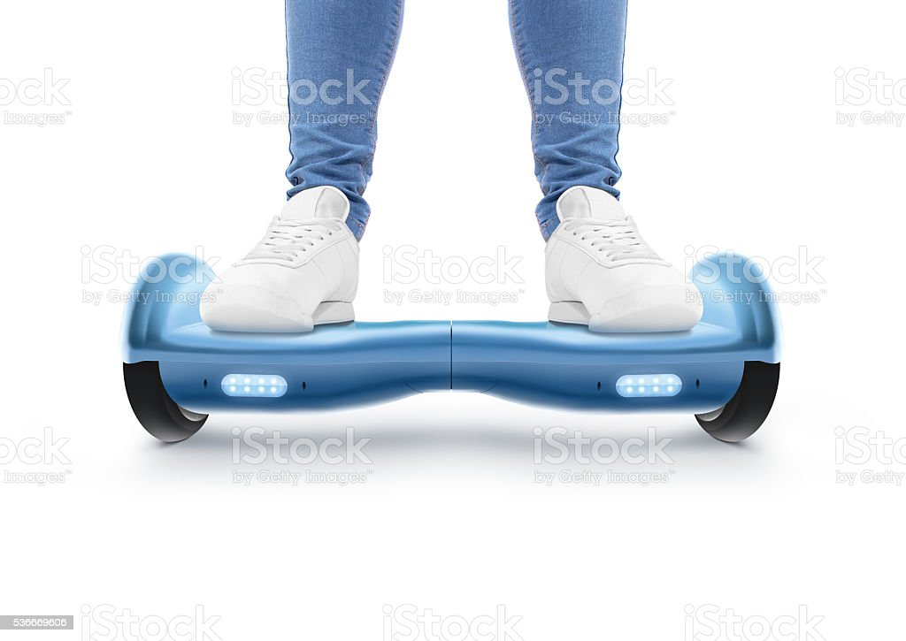 Man stand on blue hyro scooter isolated stock photo