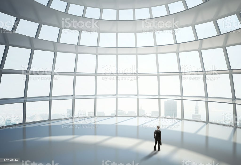 man standing in big hall royalty-free stock photo