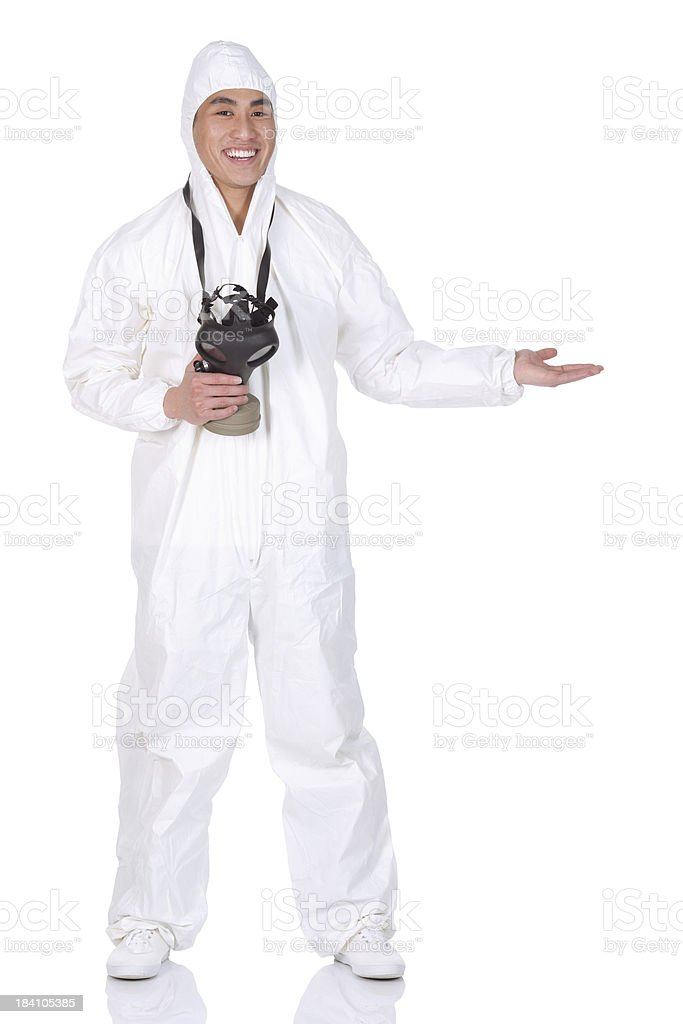 Man standing in protective suit stock photo