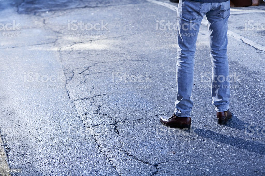 Man standing in street royalty-free stock photo