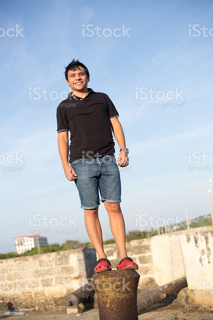 man standing on a pole royalty-free stock photo