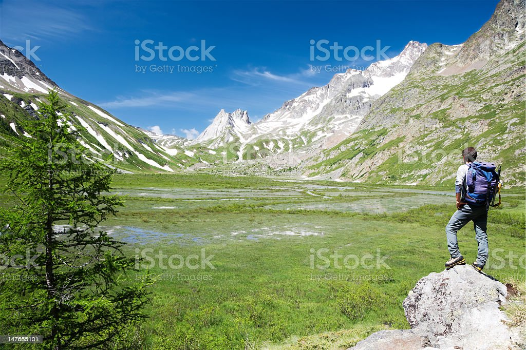 A man standing on a rock peak on a hike royalty-free stock photo