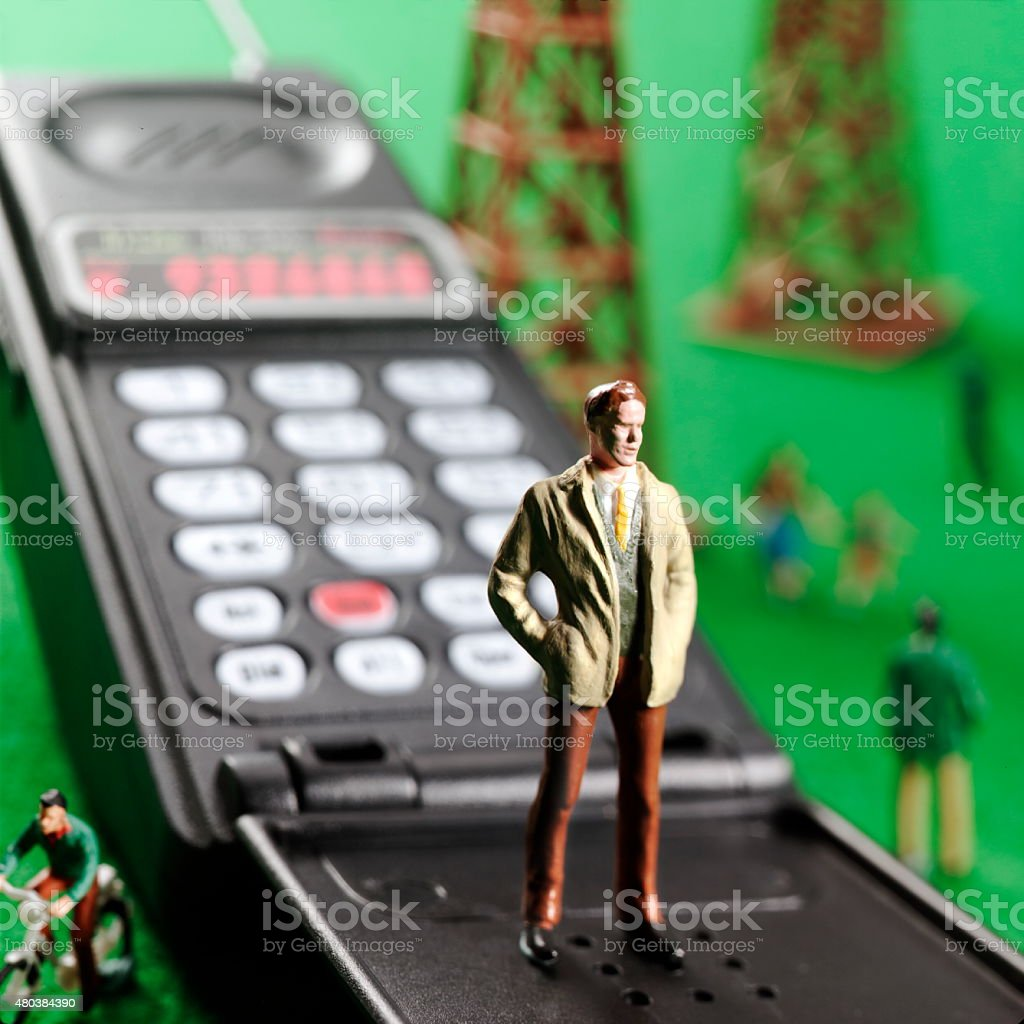 Man Standing on Telephone stock photo