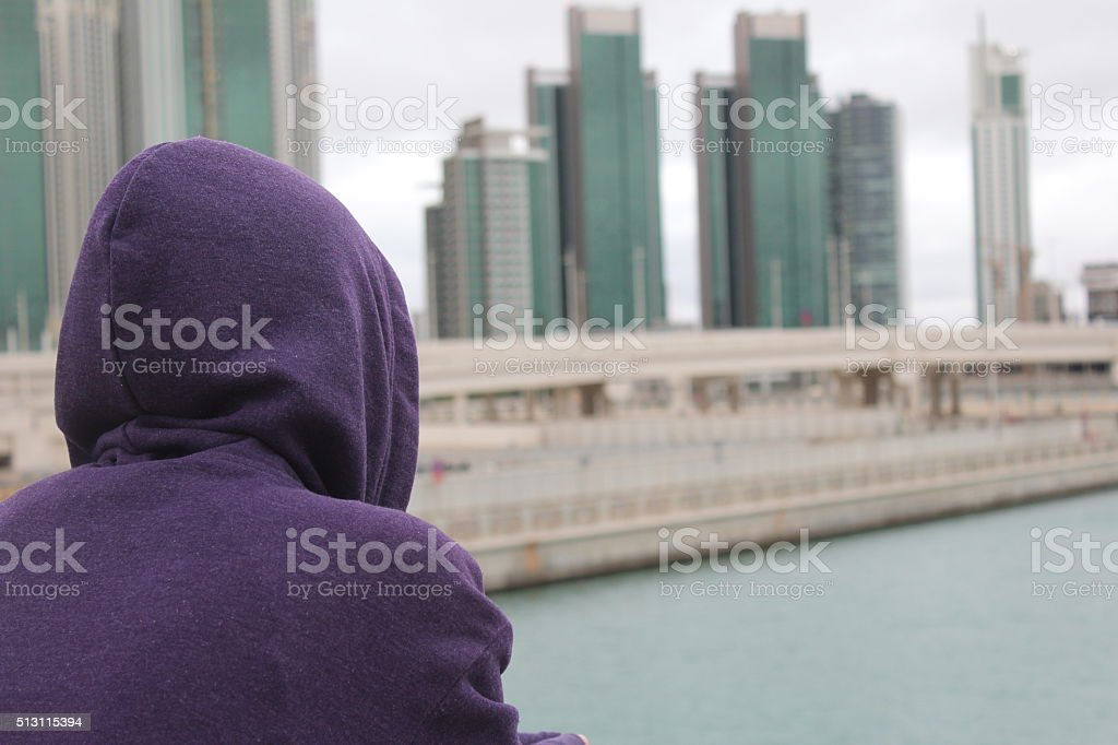 Man Standing on the bridge stock photo
