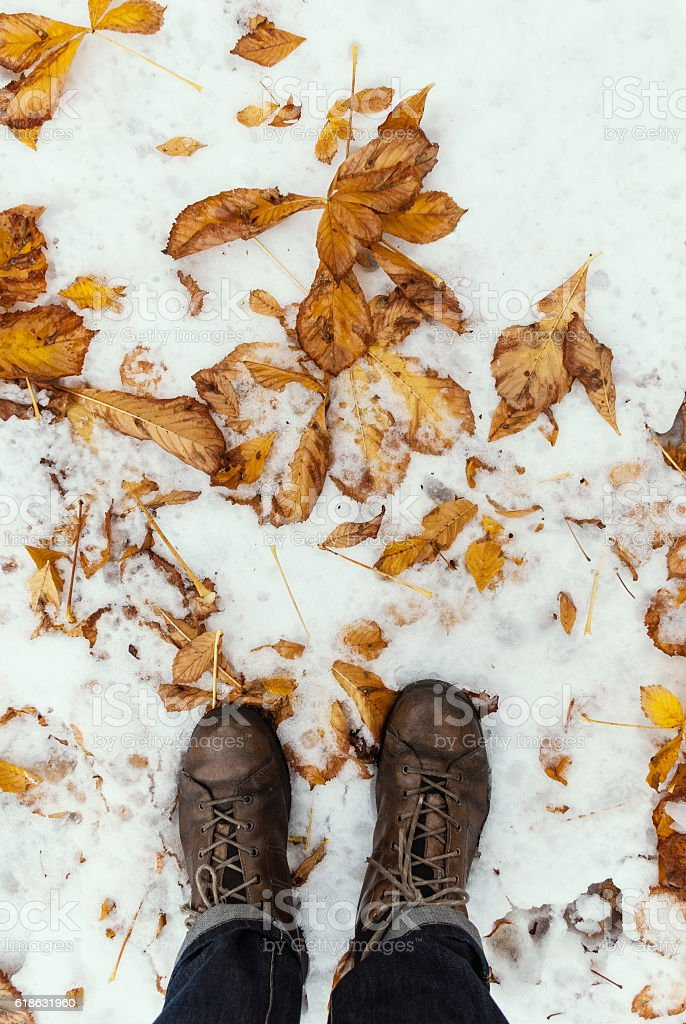 Man standing on the fallen foliage on the snowy ground stock photo