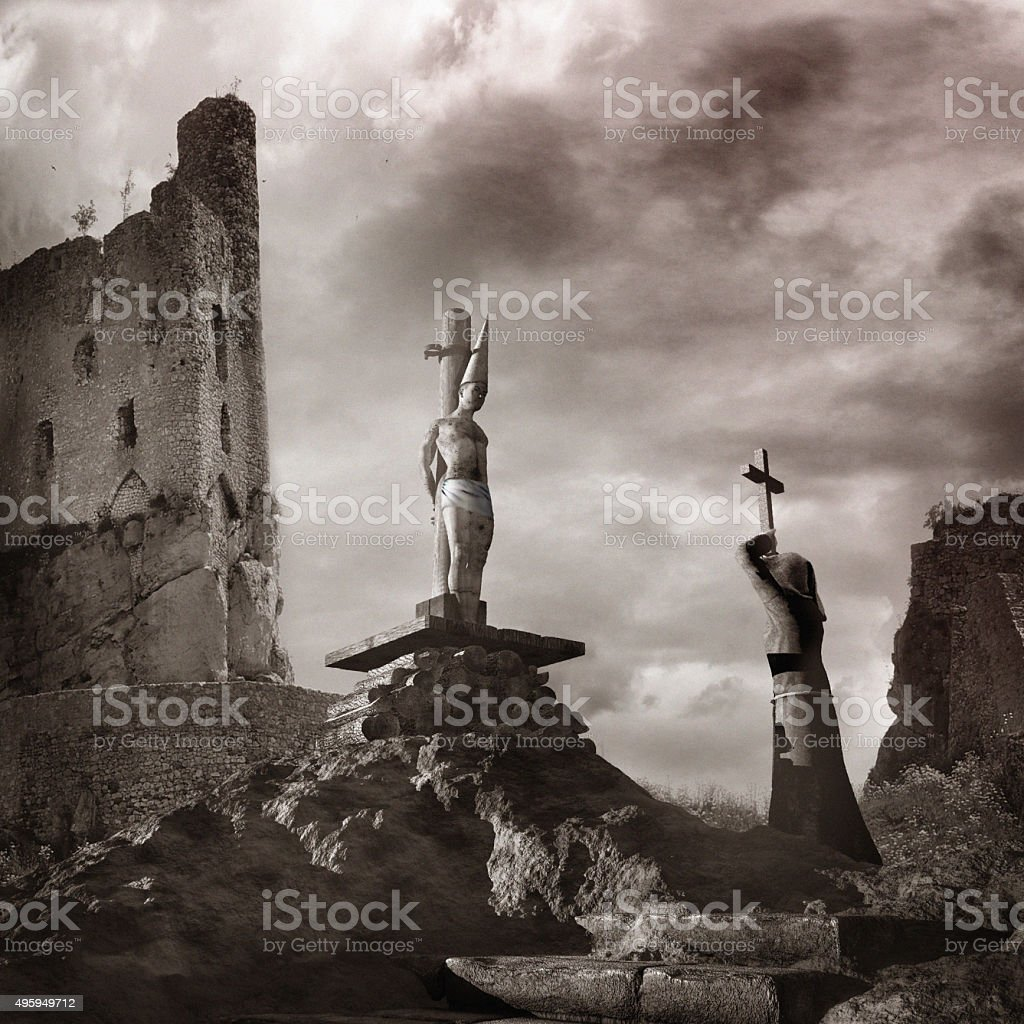 Man standing on the pyre stock photo