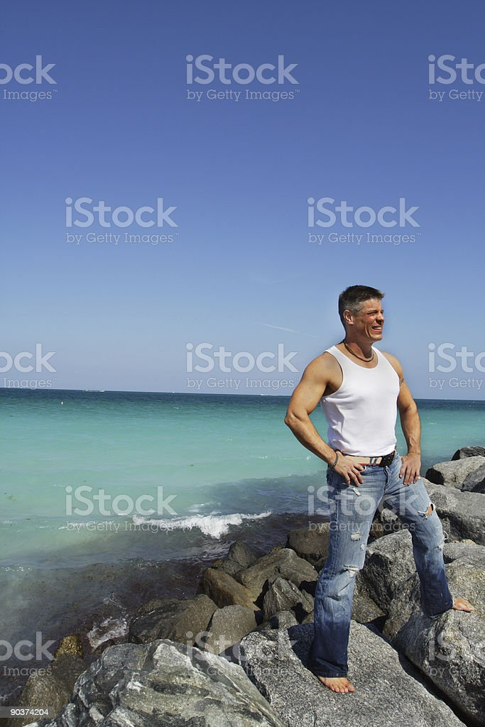 Man Standing On The Rocks royalty-free stock photo