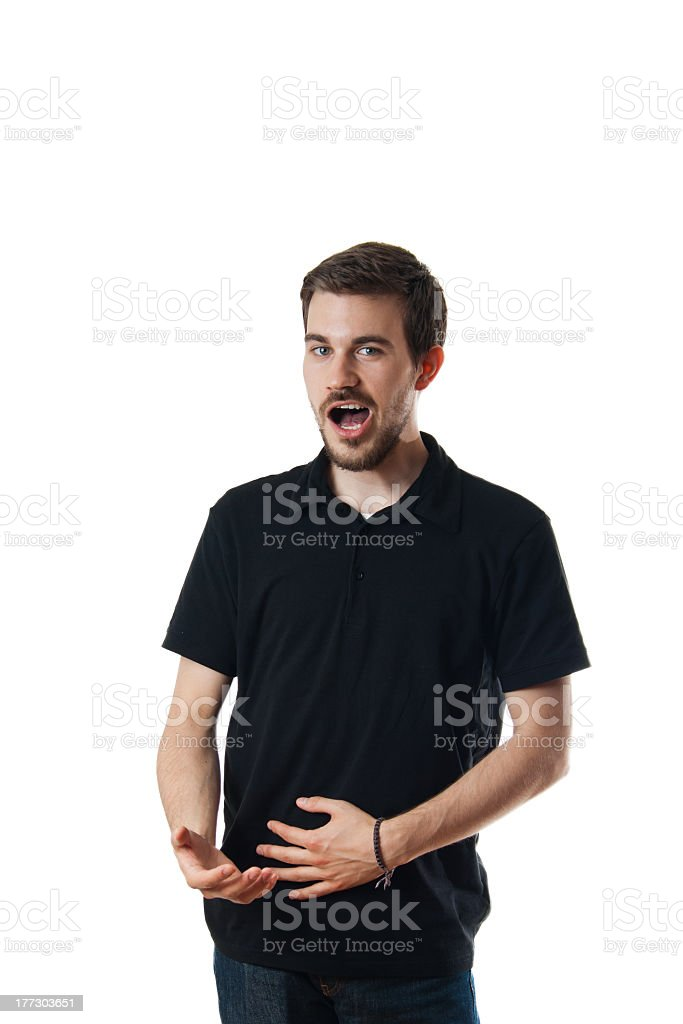 Man standing singing or burping stock photo