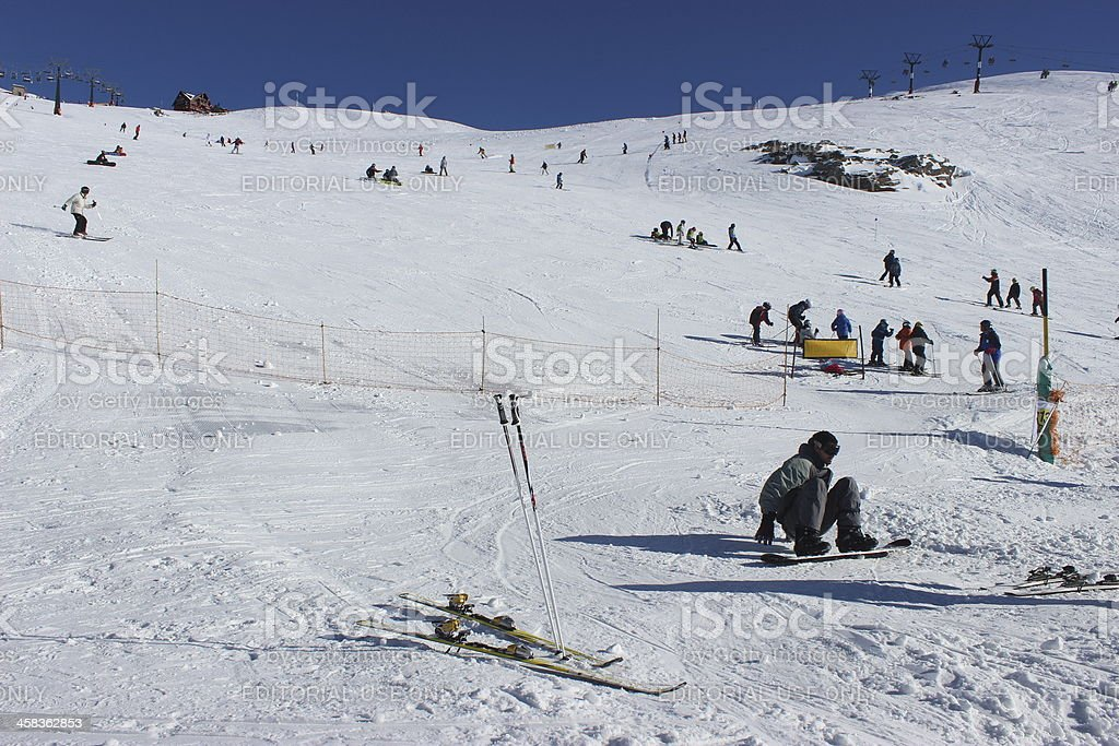 Man standing up to snowboard at Andes Mountains - Patagonia stock photo