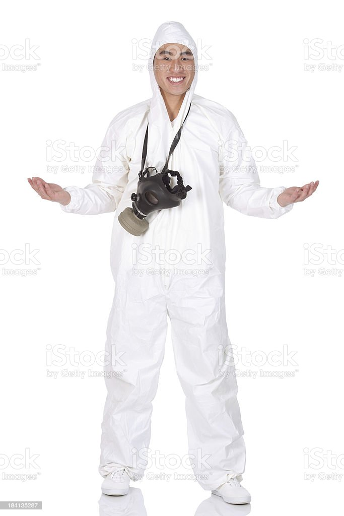 Man standing with gas mask royalty-free stock photo