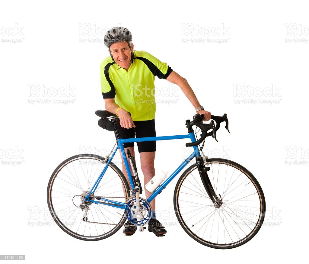Man Standing With His Bicycle stock photo