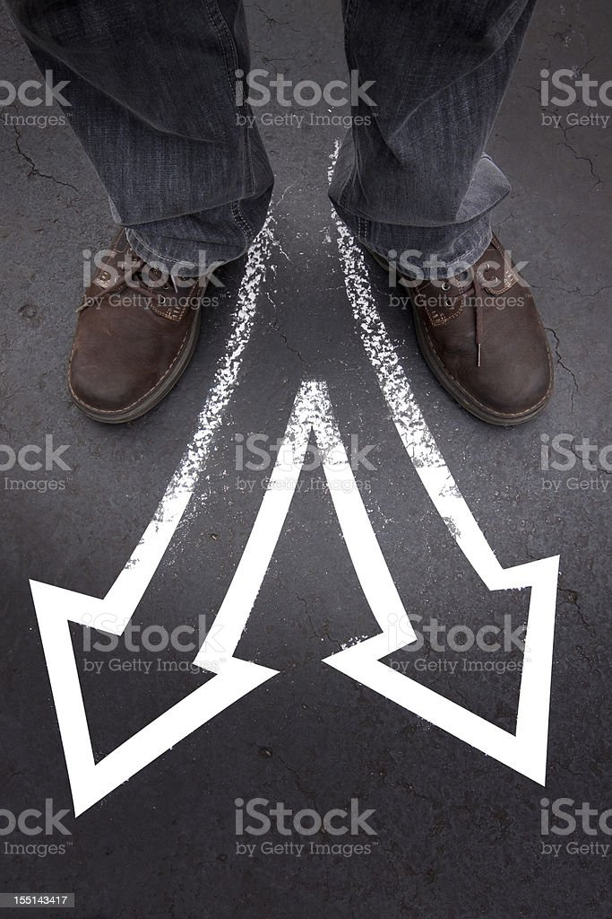 Man Standing with Two Choices royalty-free stock photo