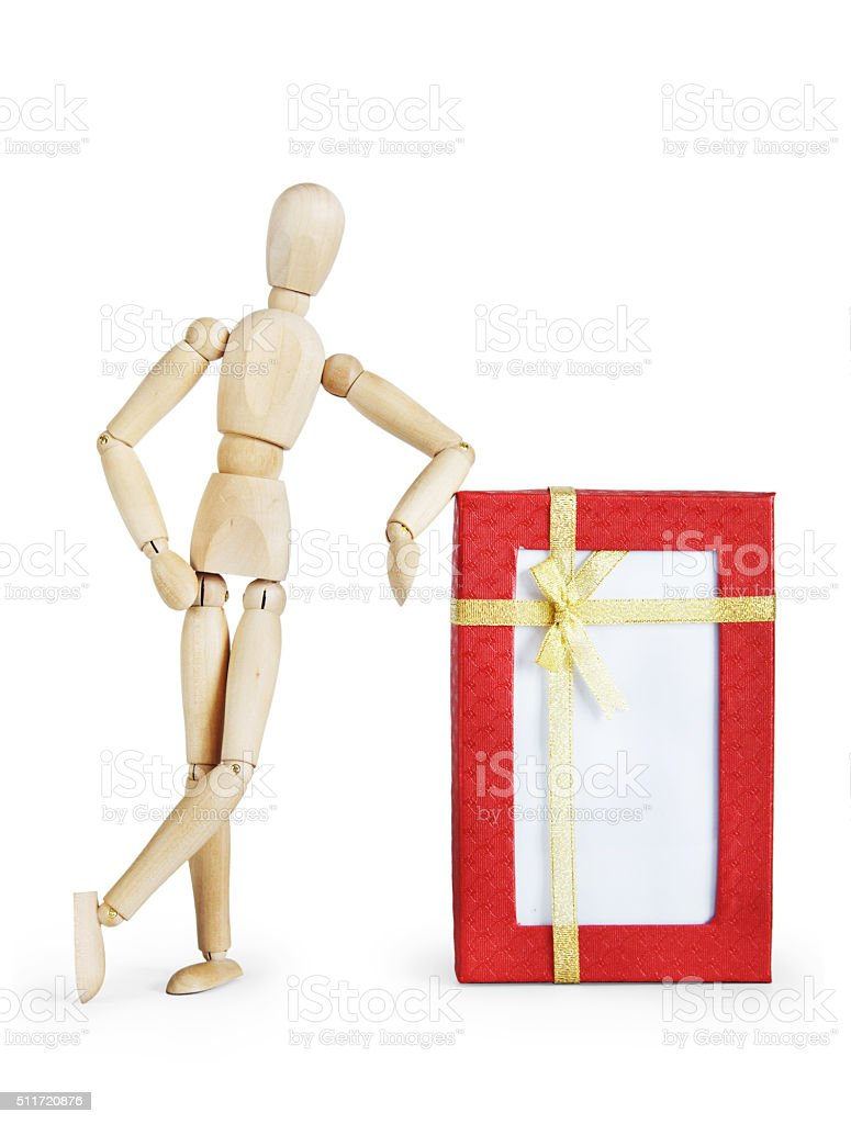 Man stands by the large gift box stock photo