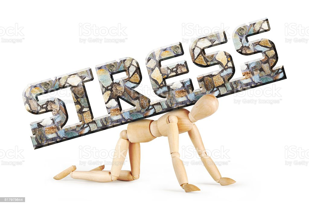 Man stands on his knees under the burden of stress stock photo