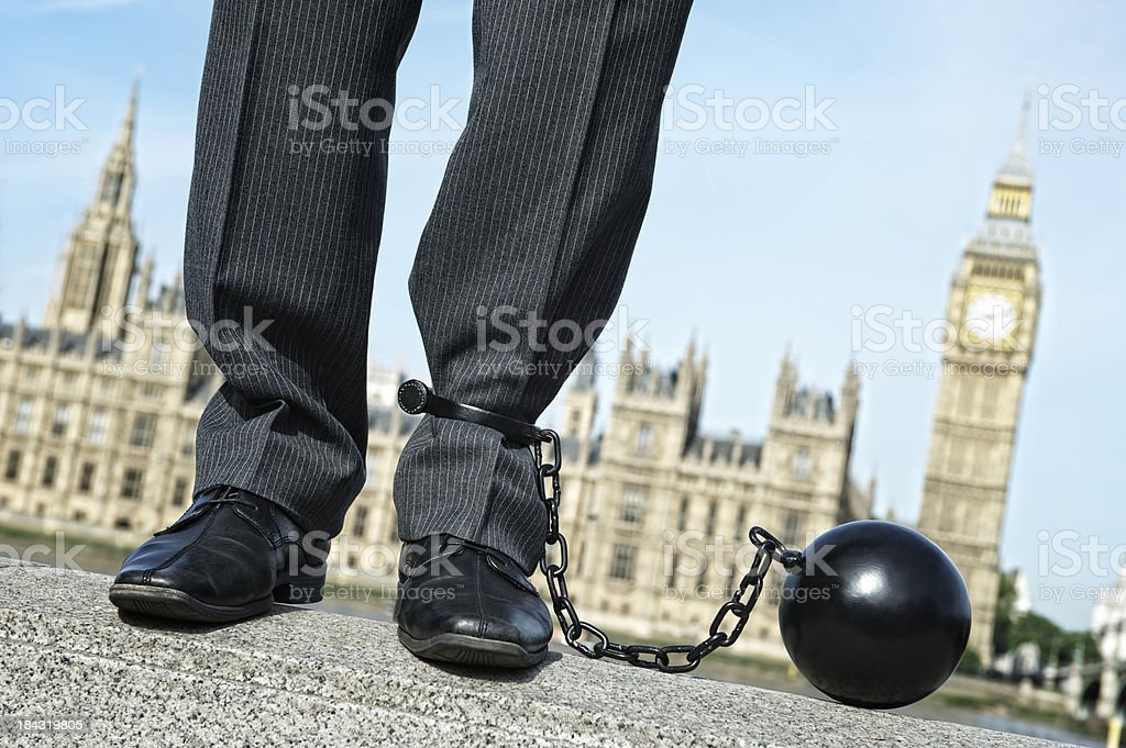 Man Stands with Ball and Chain at Westminster stock photo