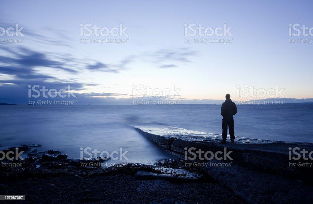 Man staring at the fantastic view royalty-free stock photo