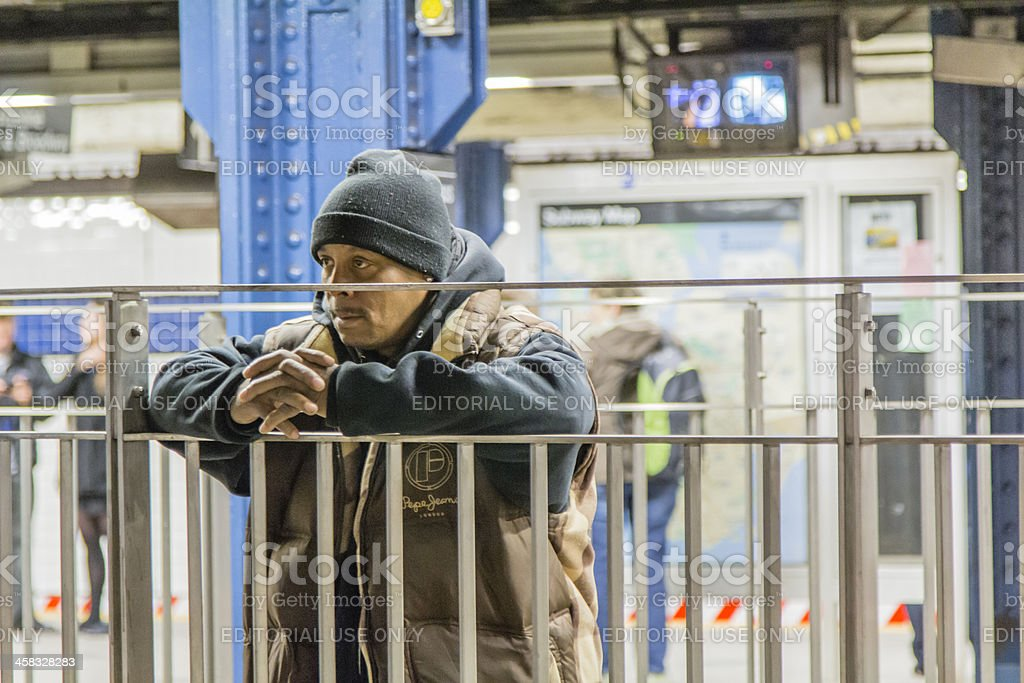 Man Staring Off In A Subway Station New York City royalty-free stock photo