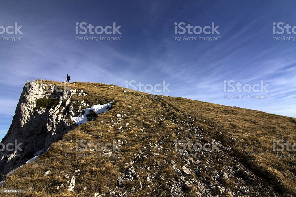 Man stay on mountain top royalty-free stock photo