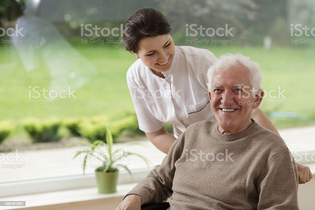 Man staying in nursing home stock photo