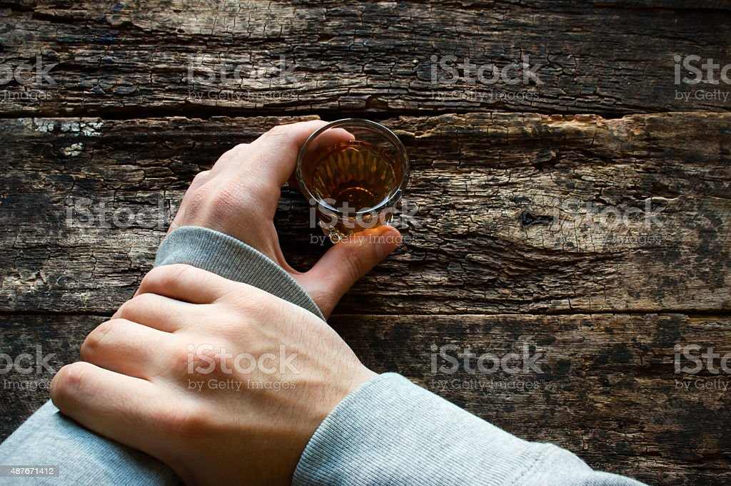 man stop myself not to drink alcohol stock photo