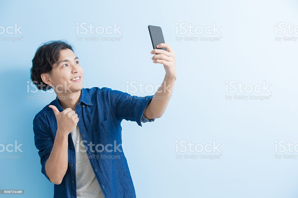man student smile and selfie stock photo