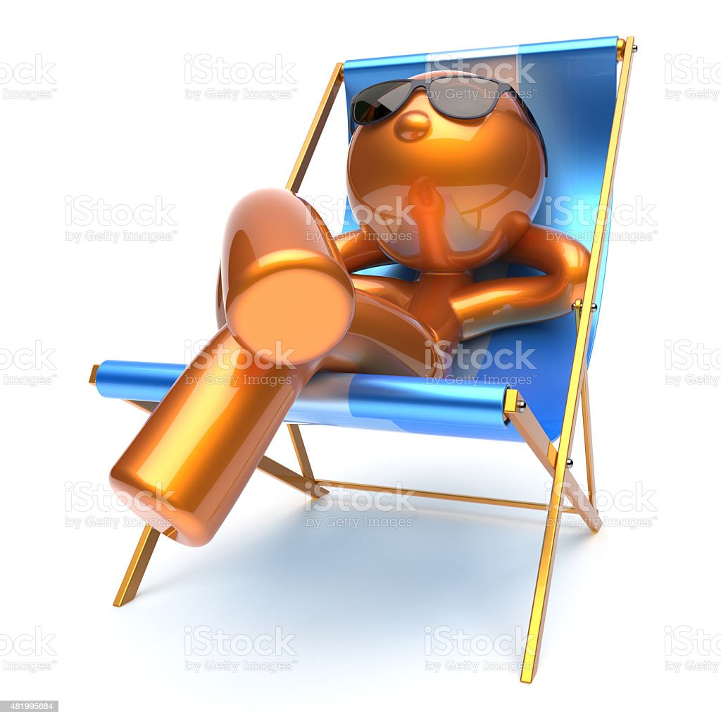 Man stylized beach deck chair relaxing chilling sunglasses stock photo