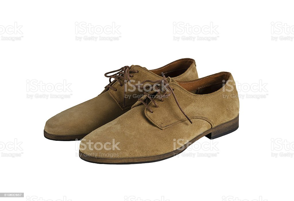 Man Suede Shoes isolated on white background stock photo