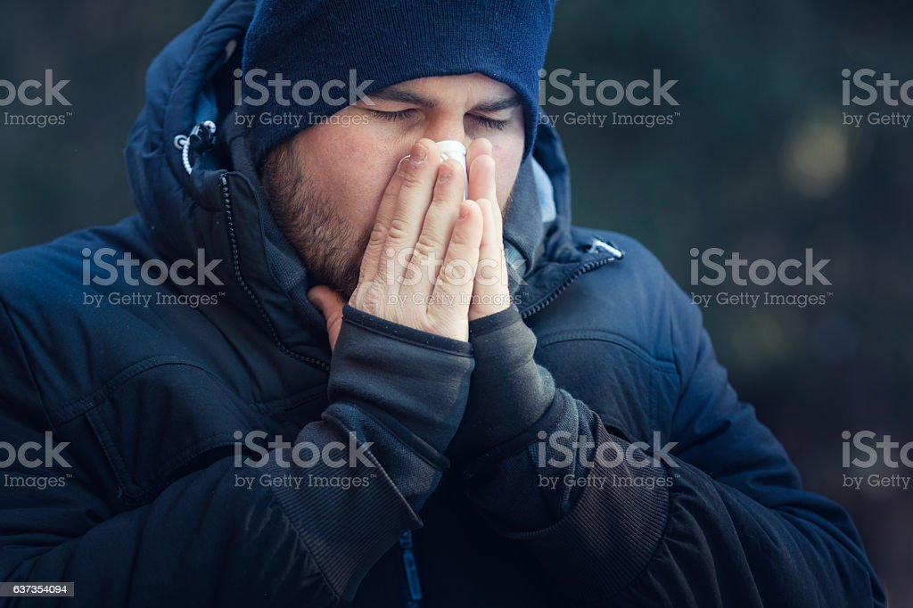 Man suffering from cold stock photo