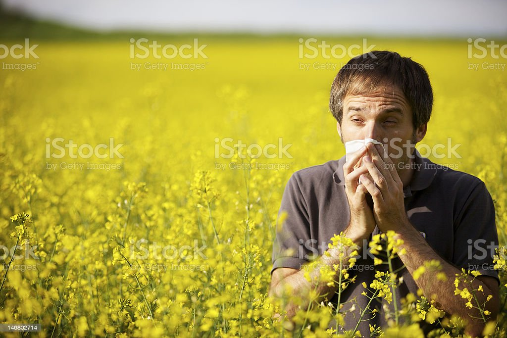 Man suffering from pollen allergy stock photo