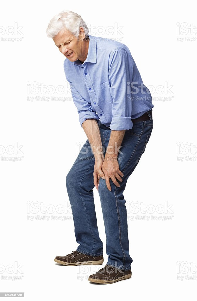 Man Suffering With Knee Pain - Isolated stock photo
