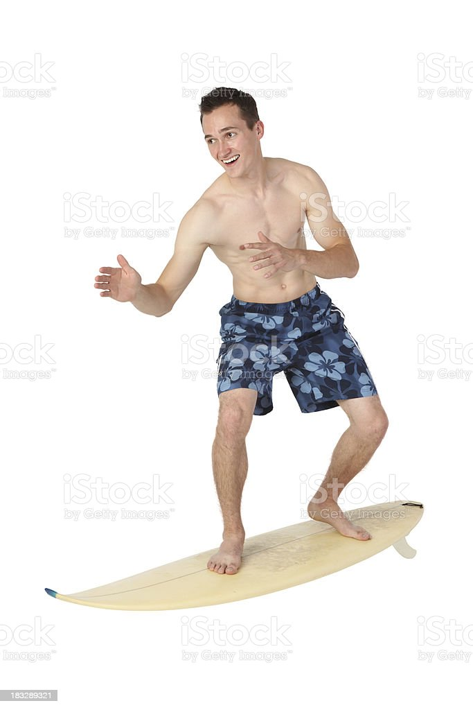 Man surfing on a surfboard royalty-free stock photo