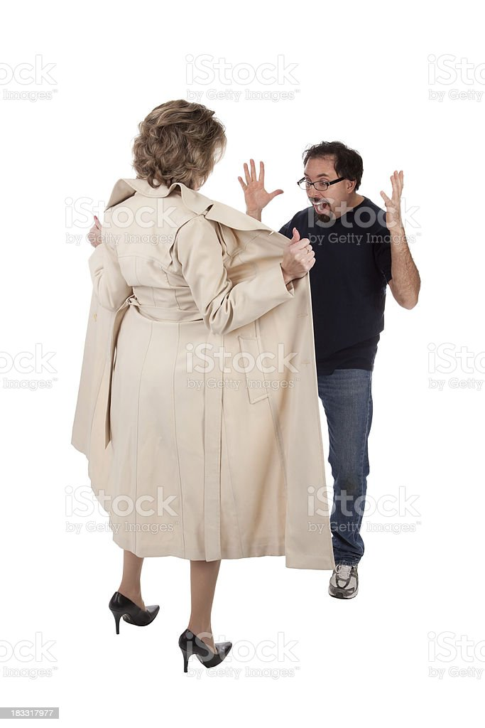 Man Surprised By Female Flasher stock photo