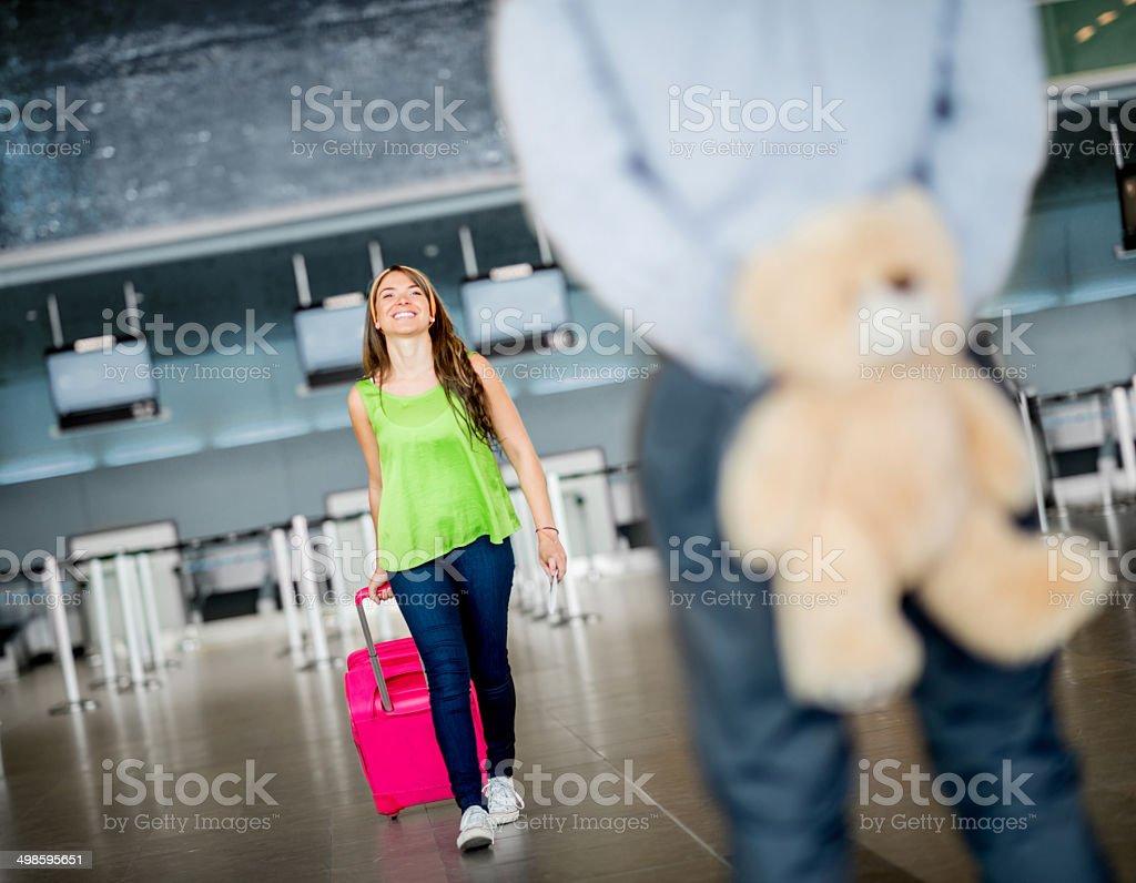 Man surprising his girlfriend stock photo