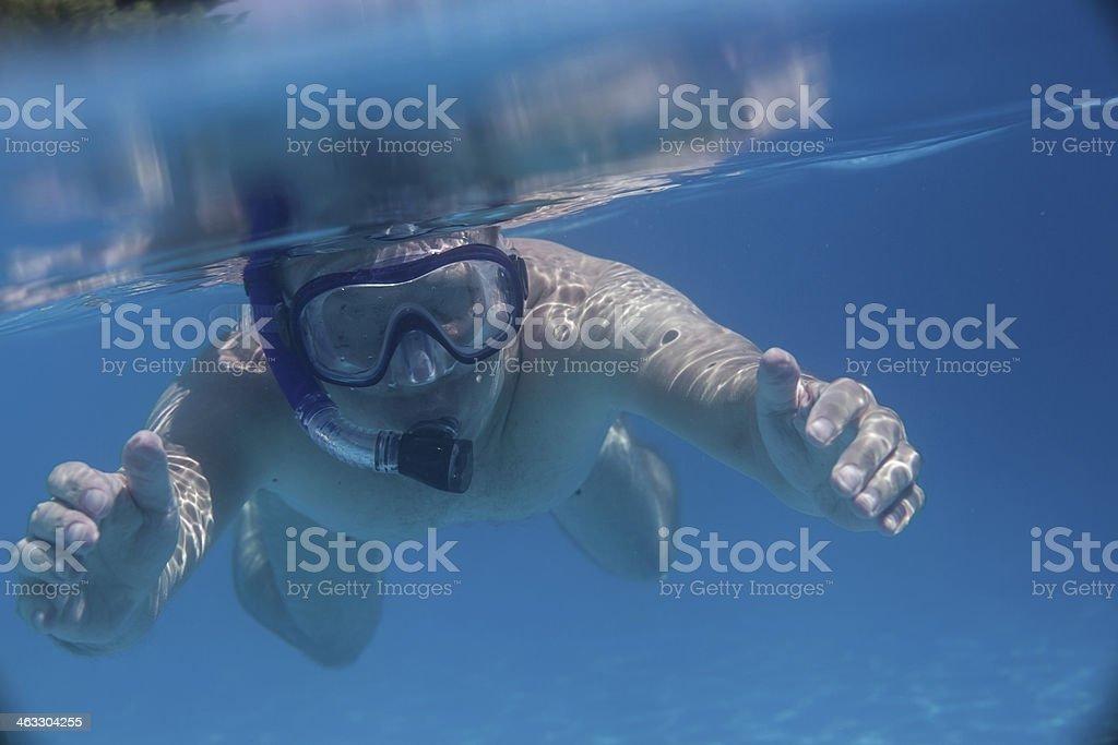 Man swimming under water stock photo