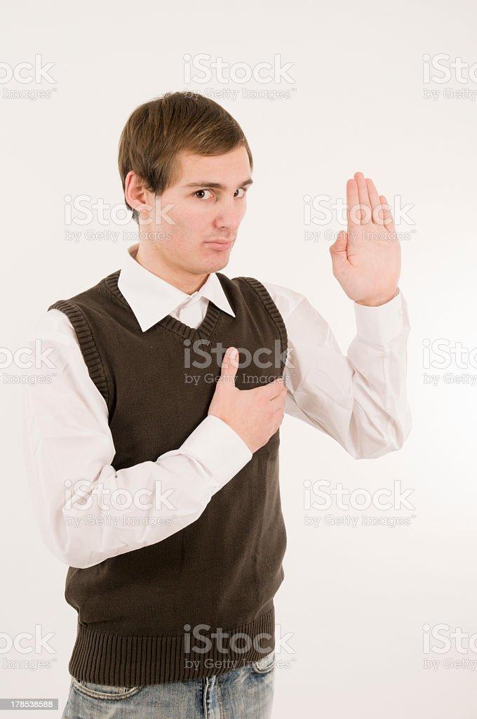 man take an oath half side front royalty-free stock photo