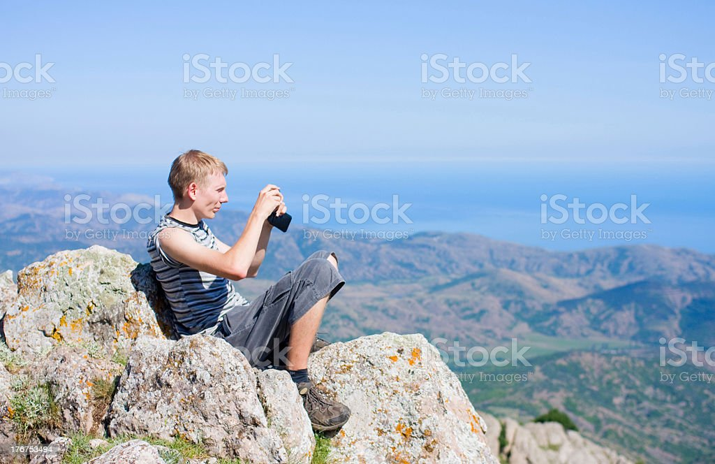 Man take pictures of nature royalty-free stock photo