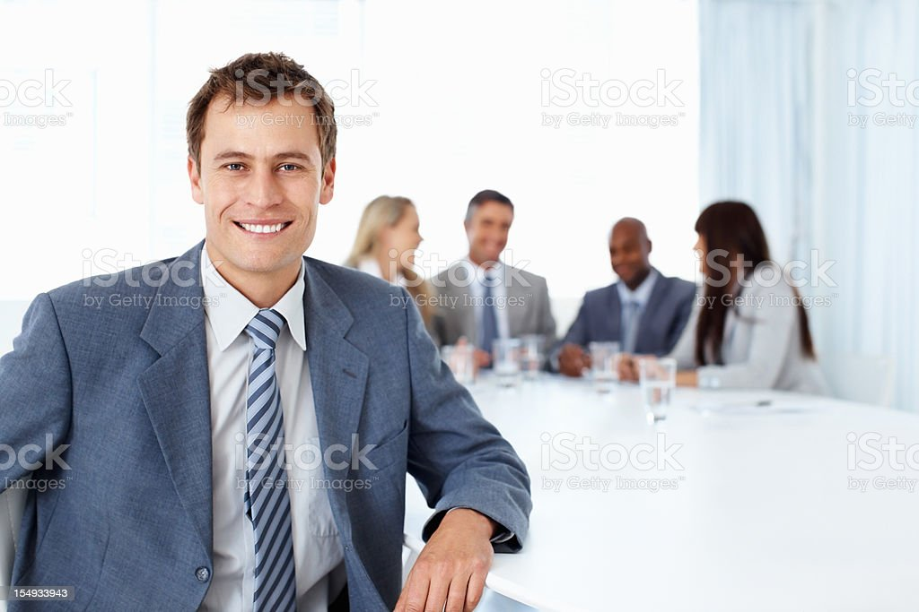 Man taking break from a meeting royalty-free stock photo