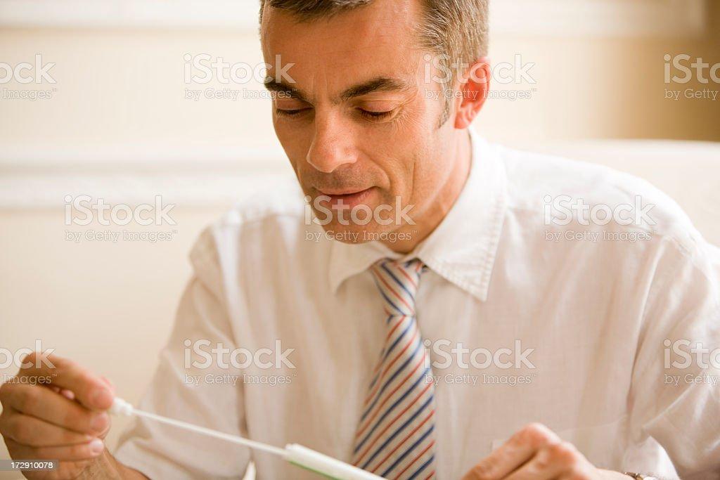 man taking DNA test royalty-free stock photo