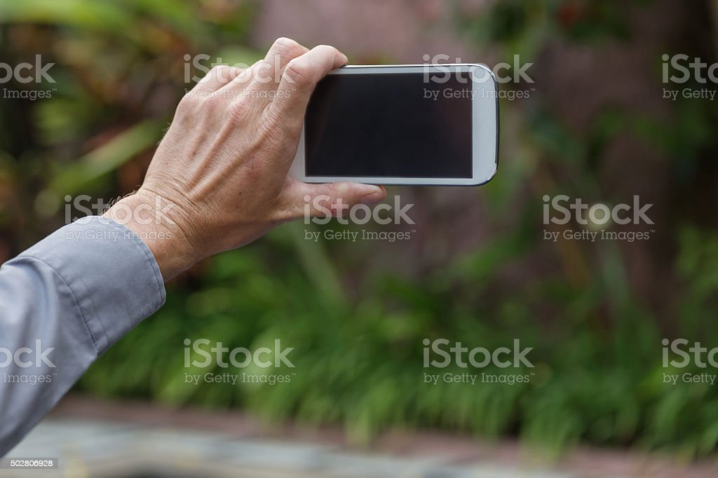Man taking pictures in the garden stock photo