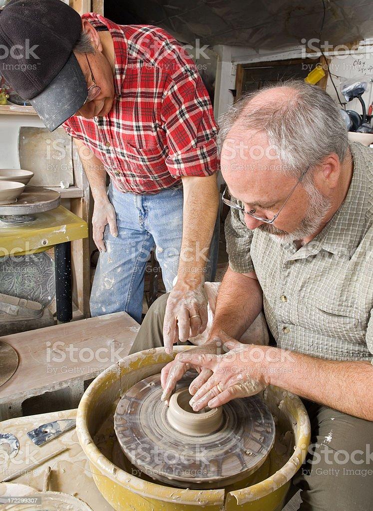 Man Taking Potters Wheel Class stock photo