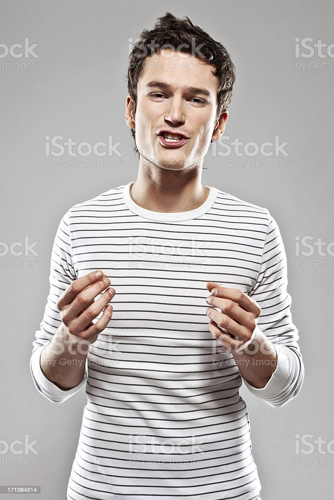 Man talking at the camera stock photo