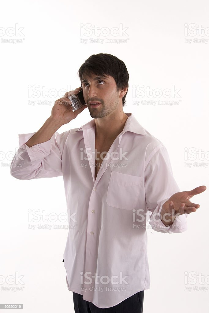 Man talking on a cell phone royalty-free stock photo